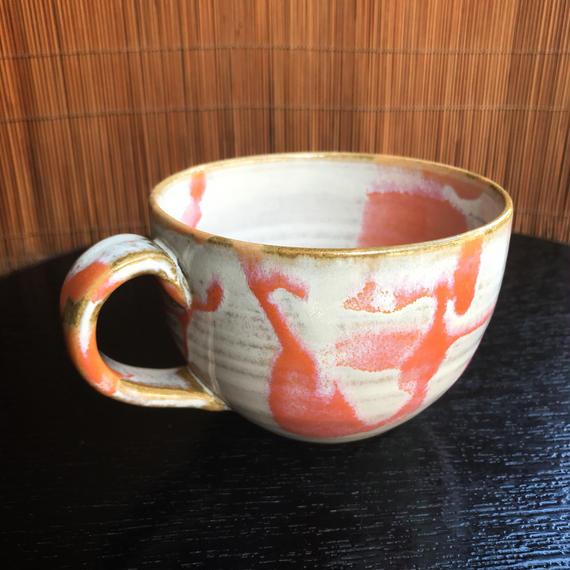陶器 萩焼 和食器 作家 和モダン カフェ マグカップ スープカップ マーブル赤  小田