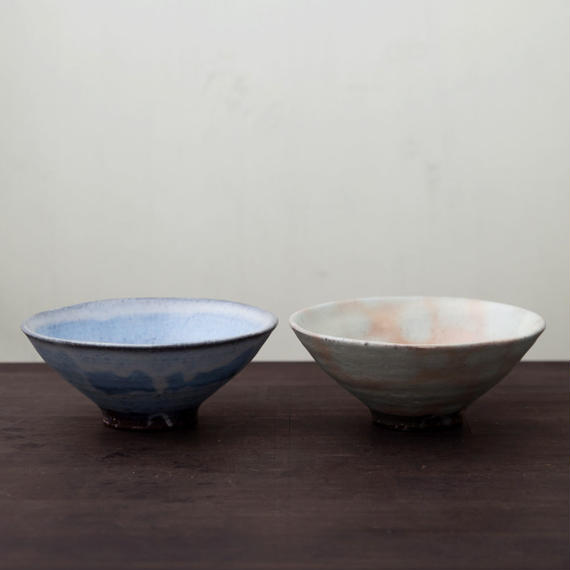 ◆◇陶器 萩焼 輪花◆◇ 飯碗皿鉢 色違いセット (木箱入) 白景山