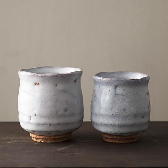 ◆◇陶器 萩焼 輪花◆◇ 登り窯焼成 組湯呑(木箱入) 小久保凌雲 作