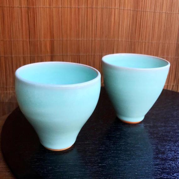 陶器 萩焼 和食器 作家 和モダン カフェ フリーカップ 湯呑 小鉢 茶碗 器 青磁 ブルー 翡翠色 ペアセット
