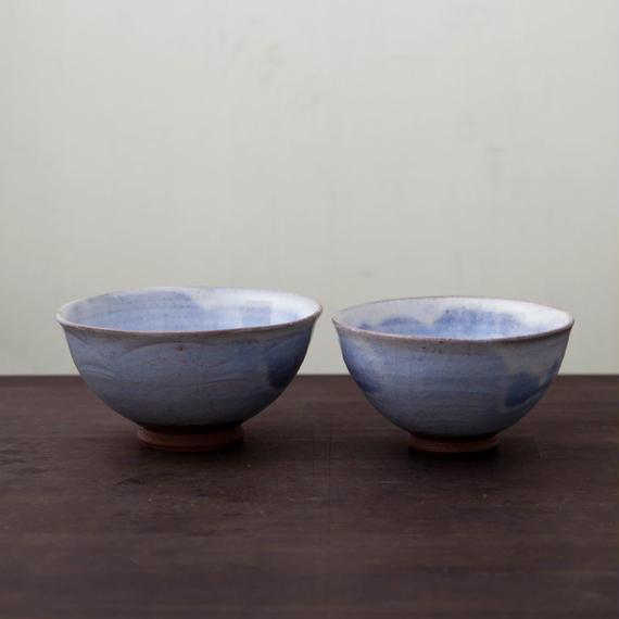 ◆◇陶器 萩焼 輪花◆◇ 飯碗二客組 (木箱入) 白景山