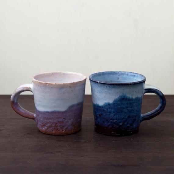 ◆◇陶器 萩焼 輪花◆◇ ペアコーヒー マグカップ (木箱入) 河野聡 作