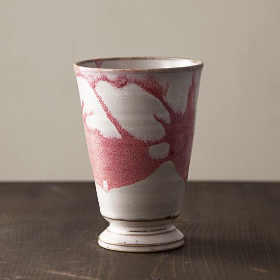◇◆陶器 萩焼 輪花◇◆ 和グラス(赤) 小田光治