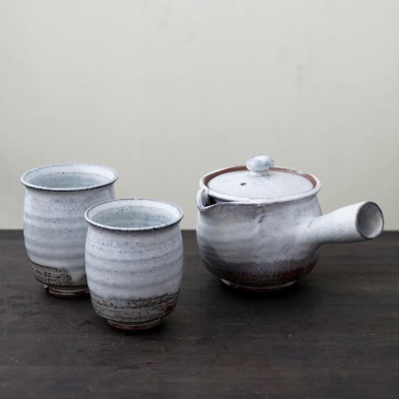 ◆◇陶器 萩焼 輪花◆◇ 白萩茶器セット(木箱入) 白景山 作