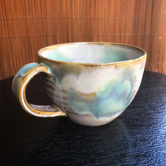 陶器 萩焼 和食器 作家 和モダン カフェ マグカップ スープカップ マーブル緑