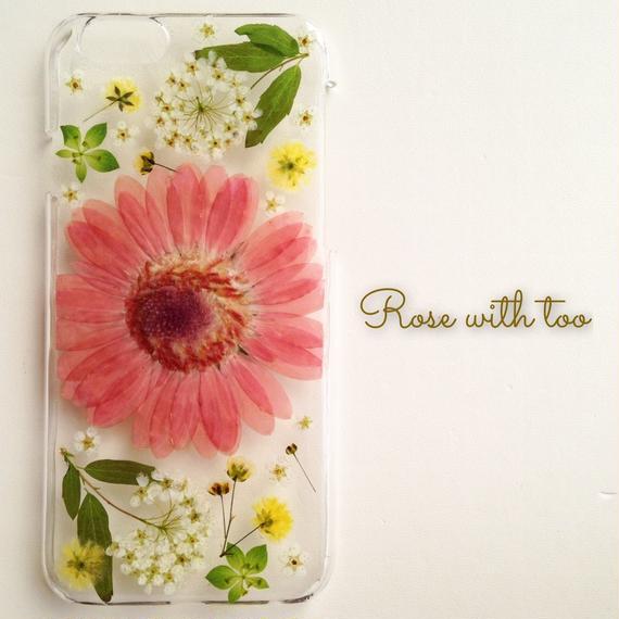 iPhone6/6s用 フラワーアートケース 押し花デザイン 0210_2