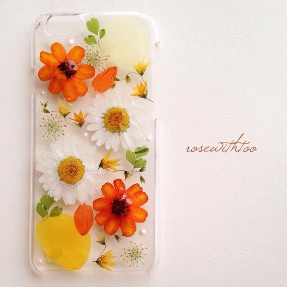 iPhone6用 フラワーアートケース 押し花デザイン0112_2
