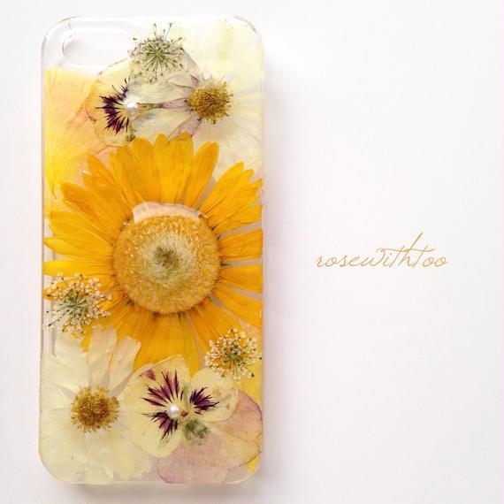 iPhone5/5s用 フラワーアートケース 押し花デザイン 0329_3