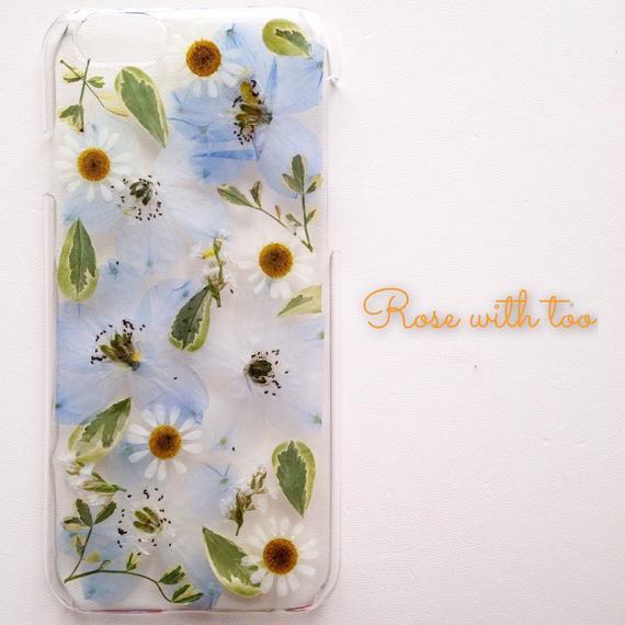 iPhone6/6s用 フラワーアートケース 押し花デザイン 1129_1
