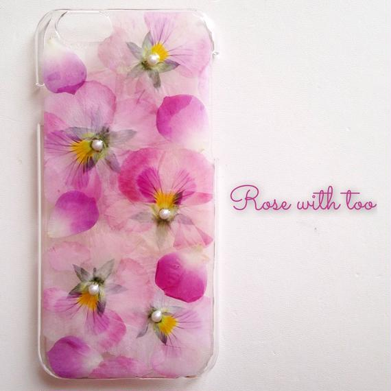 iPhone6/6s用 フラワーアートケース 押し花デザイン 1227_1