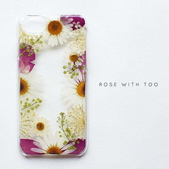 【再販】押し花iPhoneケース 0718_1 white.rose