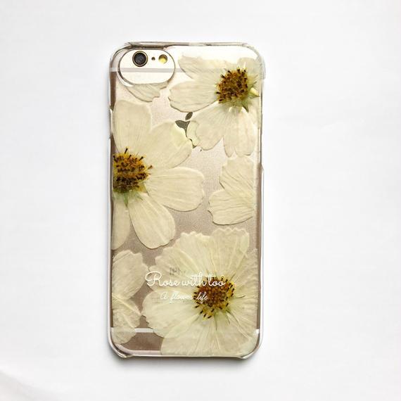 押し花iPhoneケース1008_6 white cosmos
