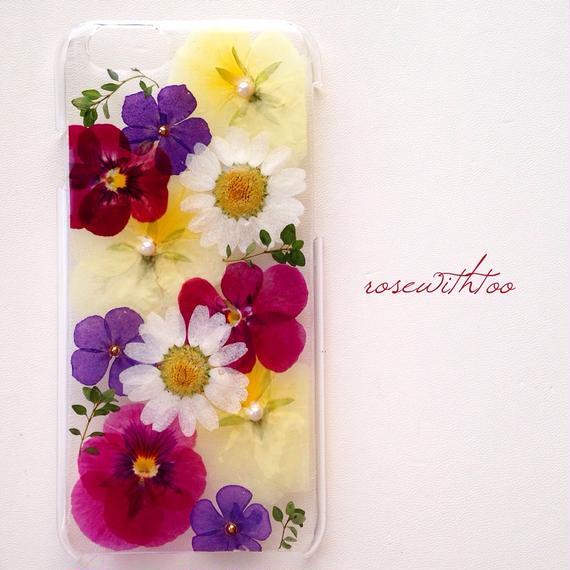 iPhone6用 フラワーアートケース 押し花デザイン0118_4