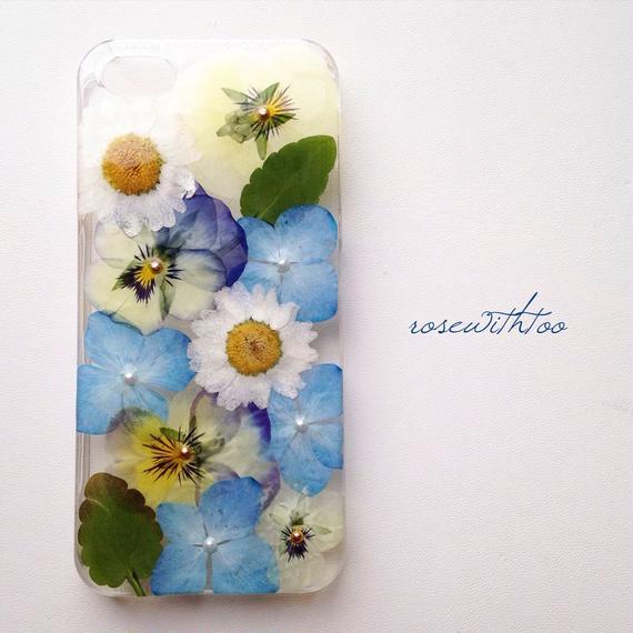 iPhone5/5s用 フラワーアートケース 押し花デザイン0209_1