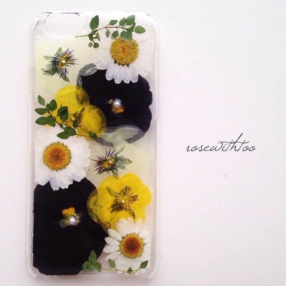 iPhone6用 フラワーアートケース 押し花デザイン0209_1
