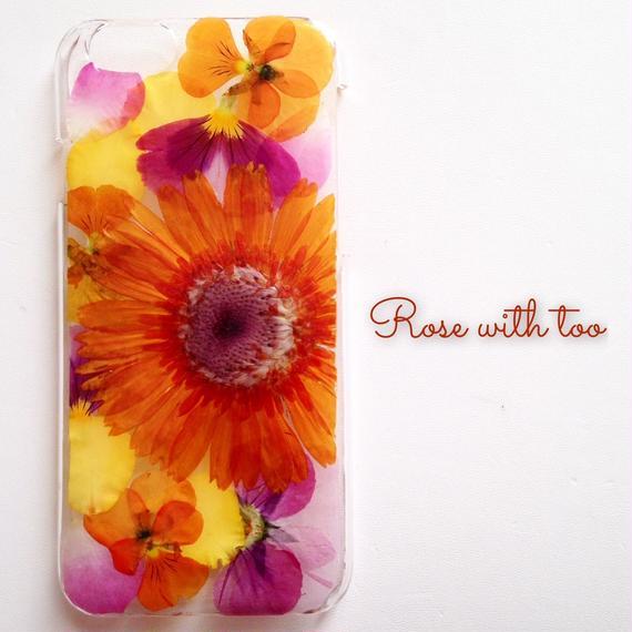 iPhone6/6s用 フラワーアートケース 押し花デザイン 1227_4