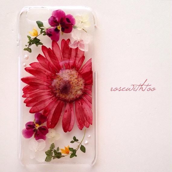 iPhone6用 フラワーアートケース 押し花デザイン0118_2