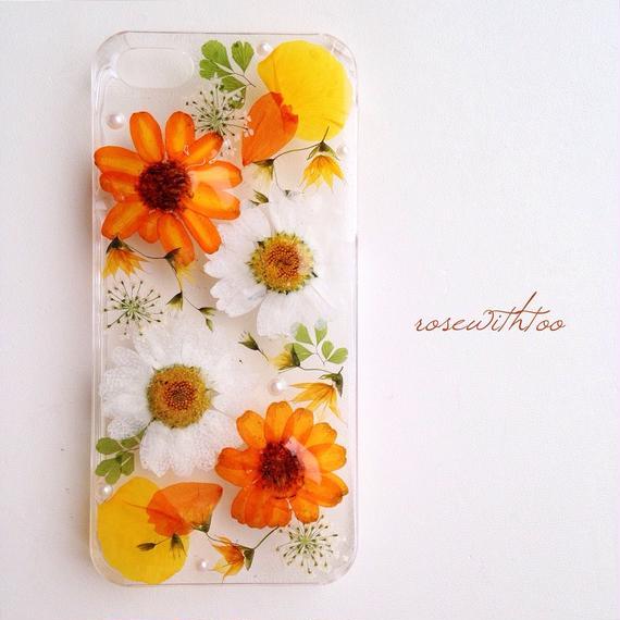【再販】iPhone5/5s用 フラワーアートケース 押し花デザイン 0112_4