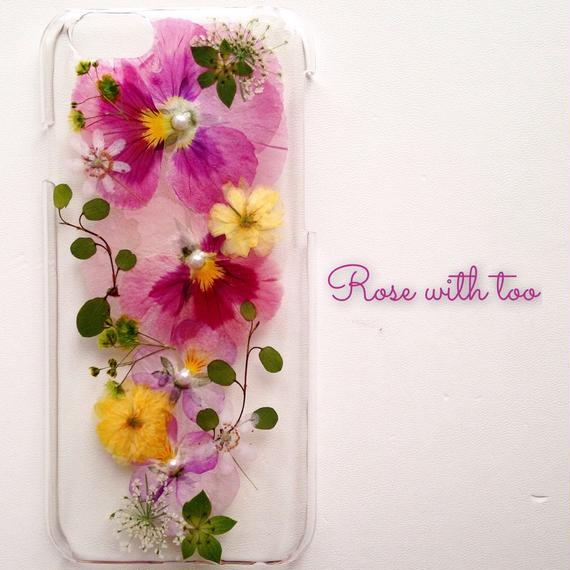 iPhone6/6s用 フラワーアートケース 押し花デザイン 1129_6