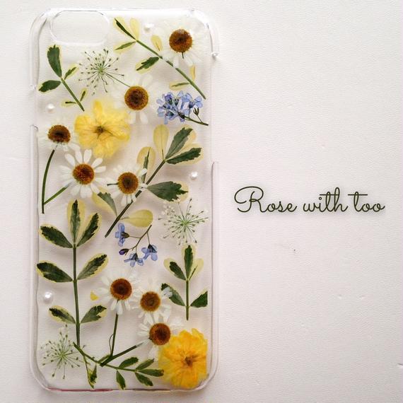 iPhone6/6s用 フラワーアートケース 押し花デザイン 1129_5