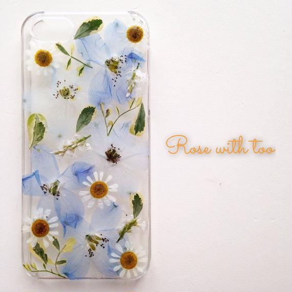 iPhone5/5s用 フラワーアートケース 押し花デザイン 1129_1