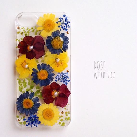 iPhone5/5s用 フラワーアートケース 押し花デザイン001