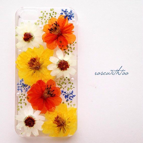 iPhone5/5s用 フラワーアートケース 押し花デザイン0125_5