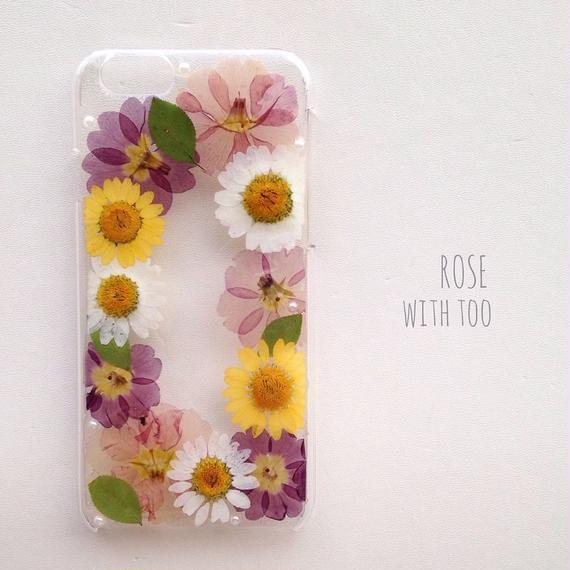 iPhone6用 フラワーアートケース 押し花デザイン006