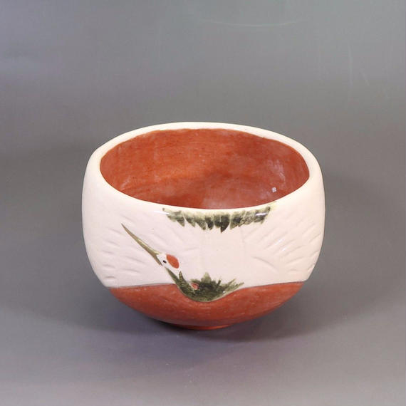 """Chawan"" Green Tea Bowl - Crane White / Red"