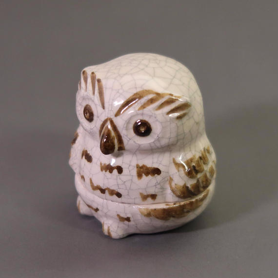 """Kō-gō"" Incense Ball Case - Owl White / Brown"
