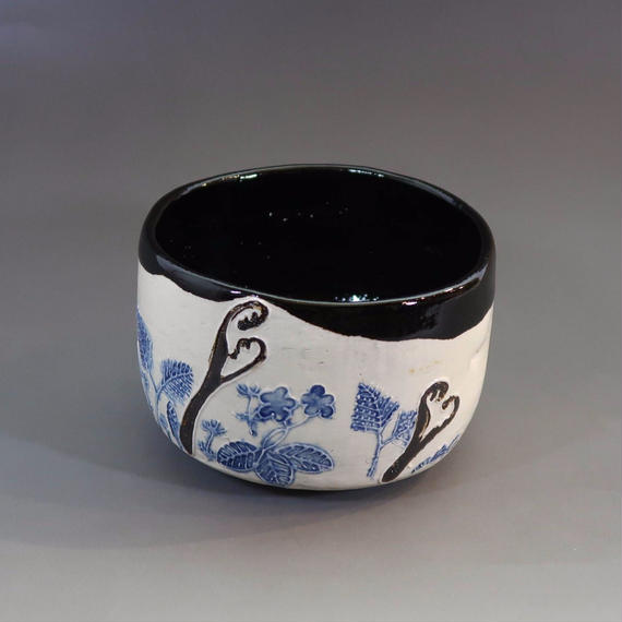 """Chawan"" Green Tea Bowl -  Spring Ferns"