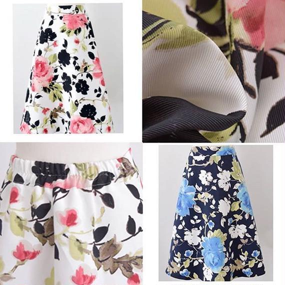 花柄ミモレ丈スカート