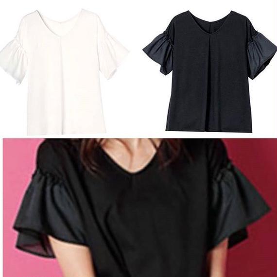 フリル袖シャツ