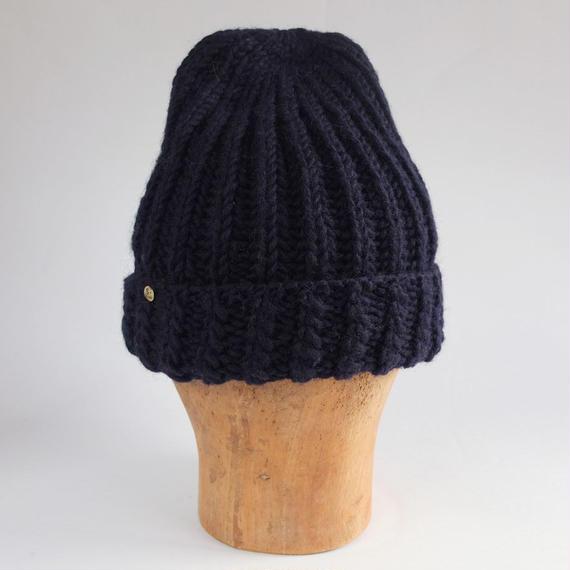 手編みニット帽子 Navy Blue