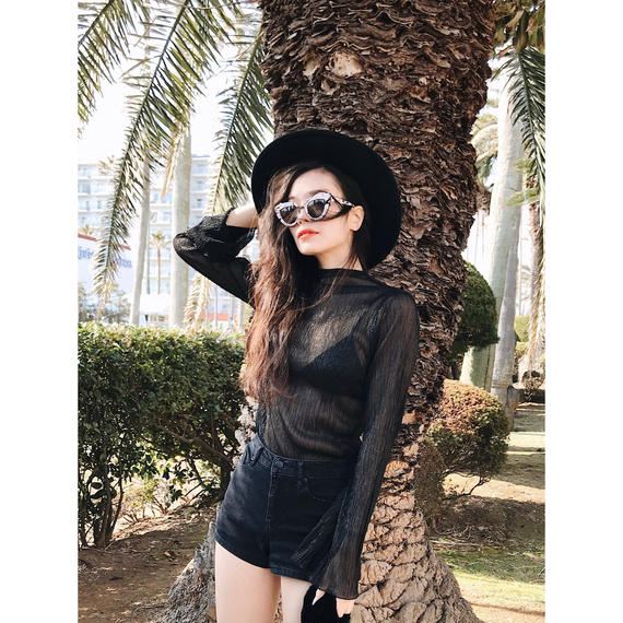 See-through lame tops (BLK)