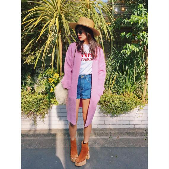 Pink long knit cardigan