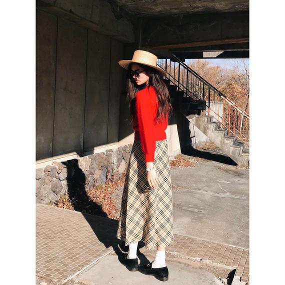 Long check skirt