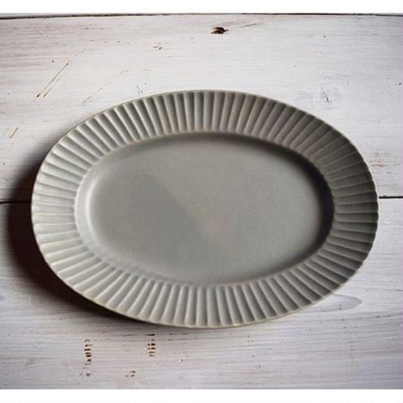 Sara Stripe Oval Plate ( Gray )
