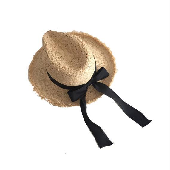 中折リボン麦わら帽子
