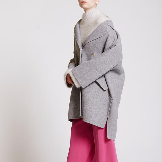 HERRINGBONE WOOL TAILORED COAT