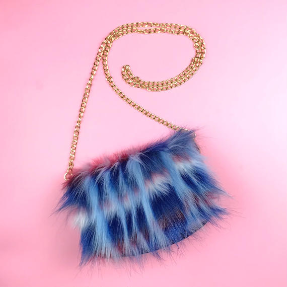color block fakefur purse/red&navy (受注生産)