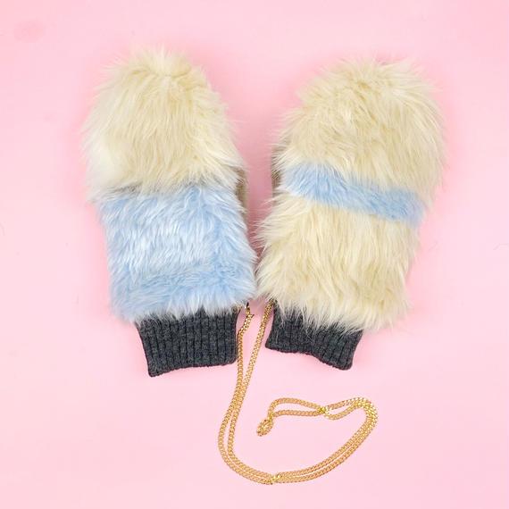 color block mittens glove #1