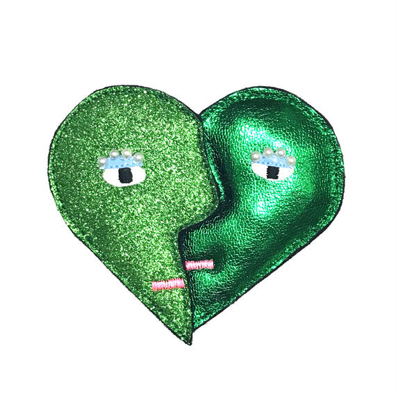 heart shape brooch/metalic green