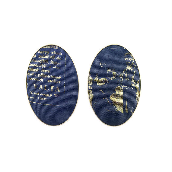 ad print earring(simple type)/navy