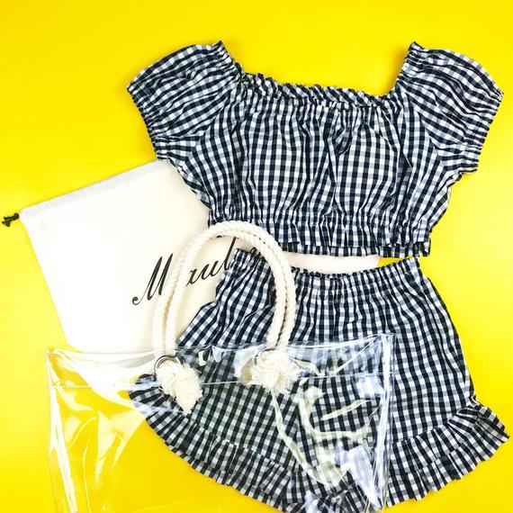 【Summer  Breeze】Beach Bag & Room Wear Set/Black