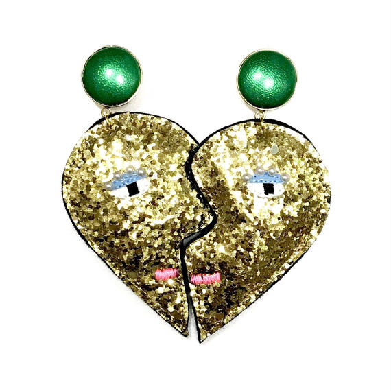 heart shape earrings(pierced earrings)/glitter gold