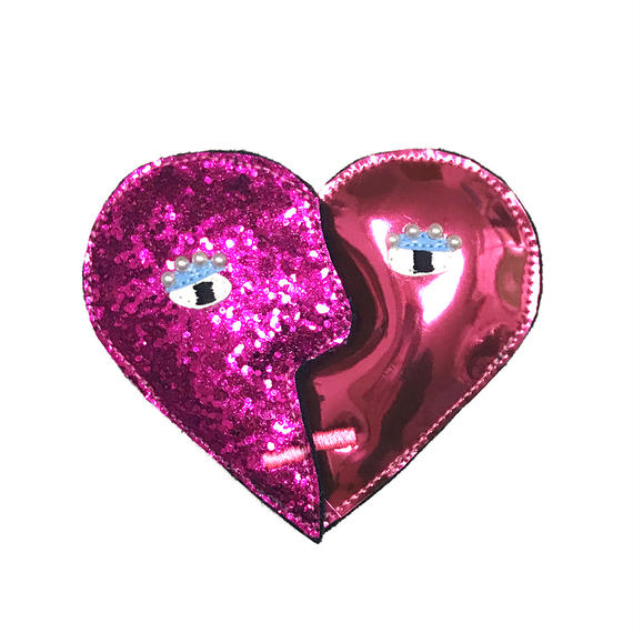 heart shape brooch/glitter pink