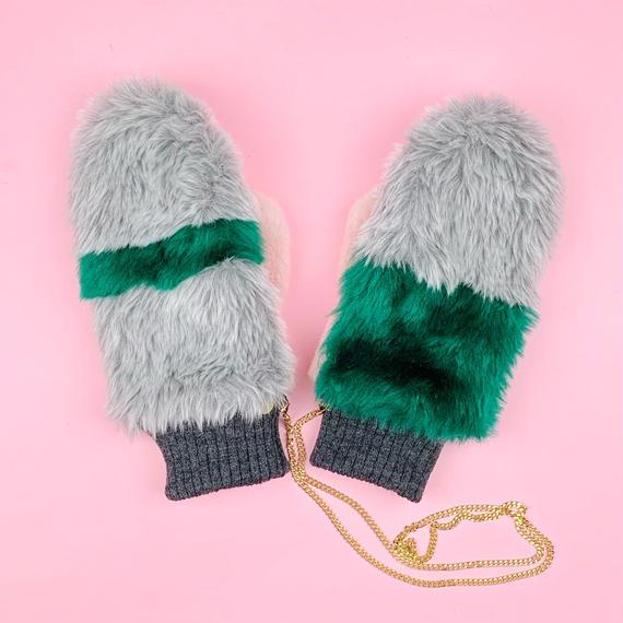 color block mittens glove #2