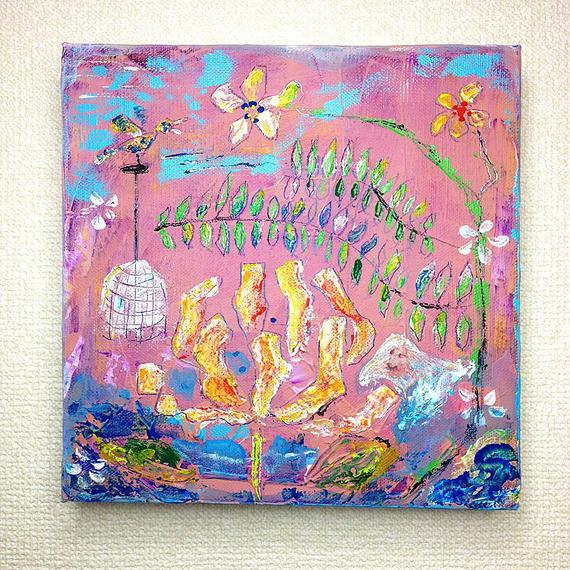 ST046花の絵「August garden」左藤芳美