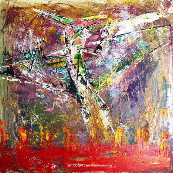 プテラノドンの絵「空色のテーマ」左藤芳美 ST017